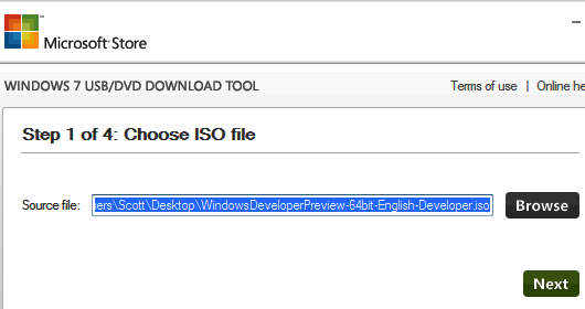 создание загрузочной флешки с помощью Windows 7 USBDVD Download Tool